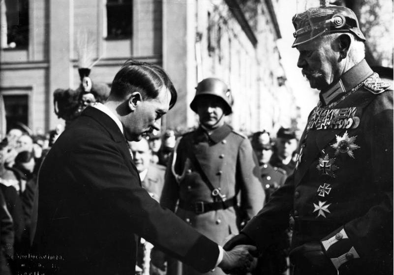 Hitler at the Tag von Potsdam (Day of Potsdam) ceremony for the opening of the new Reichstag after the German federal election, March 1933.