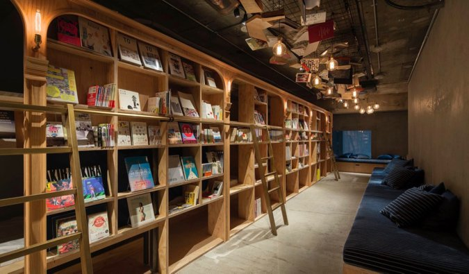 The cozy interior of Book and Bed hostel and bookstore in Tokyo, Japan