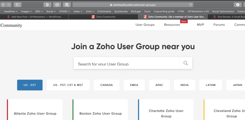 Zoho user group webs page